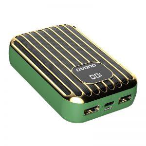 Dudao power bank külső akkumulátor 10000mAh 2x USB / USB Type C / micro USB 2A LED kijelzővel (zöld)