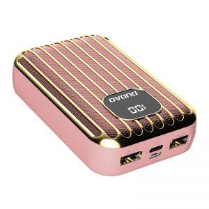 Dudao power bank külső akkumulátor 10000mAh 2x USB / USB Type C / micro USB 2A LED kijelzővel (rózsaszín)