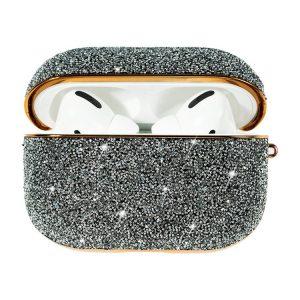 Kingxbar Crystal Fabric fényes csillámos AirPods Pro tartó (ezüst)