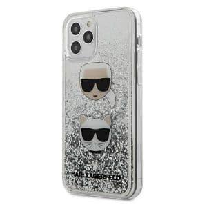 Karl Lagerfeld iPhone 12 mini Liquid Glitter Karl & Choupette telefontok (ezüst)